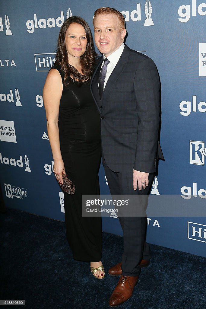 Jonathan E. Steinberg (R) and guest arrive at the 27th Annual GLAAD Media Awards at The Beverly Hilton Hotel on April 2, 2016 in Beverly Hills, California.