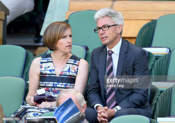Jonathan Edwards and wife Alison attend day one of the Wimbledon Tennis Championships at the All England Lawn Tennis and Croquet Club on July 2 2018...
