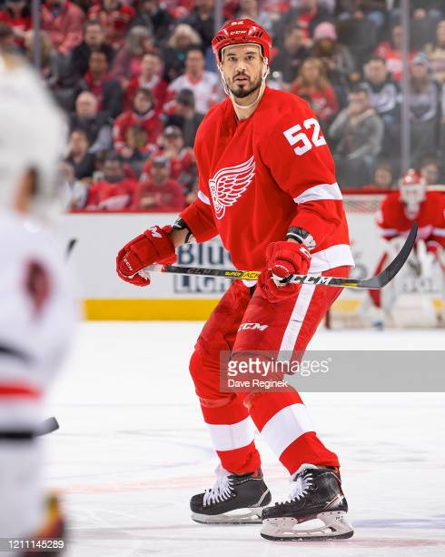 Jonathan Ericsson of the Detroit Red Wings follows the play against the Chicago Blackhawks during an NHL game at Little Caesars Arena on March 6,...
