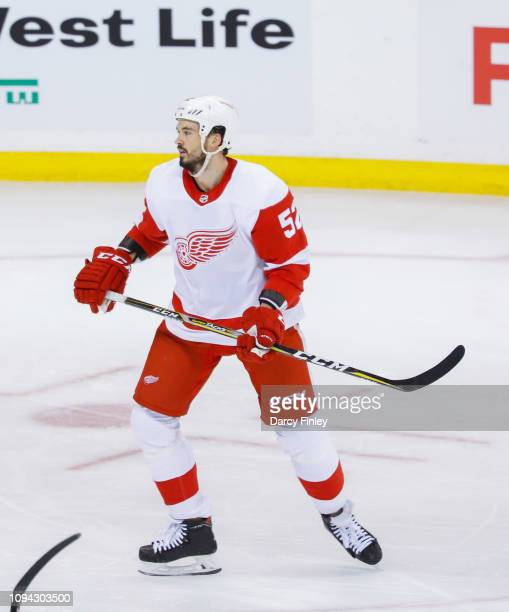 Jonathan Ericsson of the Detroit Red Wings keeps an eye on the play during second period action against the Winnipeg Jets at the Bell MTS Place on...
