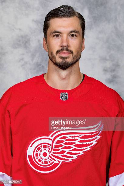 Jonathan Ericsson of the Detroit Red Wings poses for his official headshot for the 20182019 season at Center Ice Arena on September 13 2018 in...