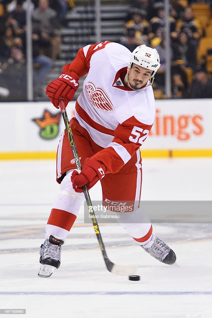 Jonathan Ericsson #52 of the Detroit Red Wings shoots the puck against the Boston Bruins at the TD Garden on November 14, 2015 in Boston, Massachusetts.