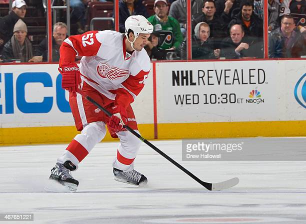 Jonathan Ericsson of the Detroit Red Wings skates against the Philadelphia Flyers at the Wells Fargo Center on January 28 2014 in Philadelphia...