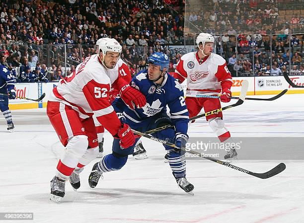 Jonathan Ericsson of the Detroit Red Wings skates against the Toronto Maple Leafs at the Air Canada Centre on November 6 2015 in Toronto Ontario...
