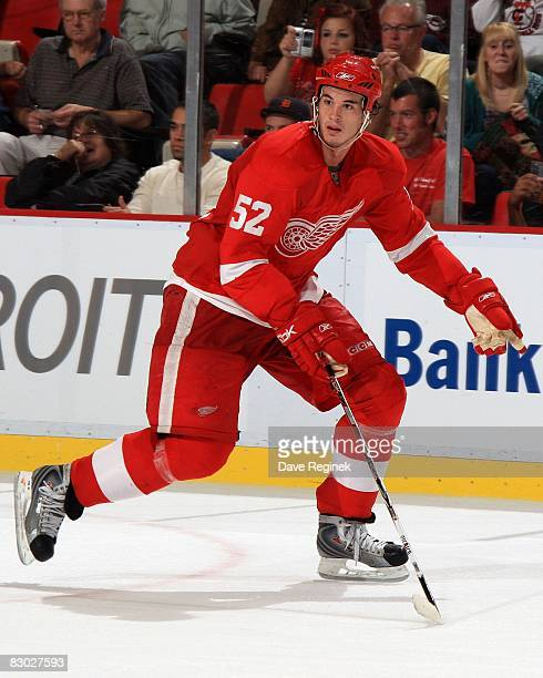 Jonathan Ericsson of the Detroit Red Wings skates up ice during the NHL preseason opener against the Montreal Canadiens on September 24 2008 at Joe...