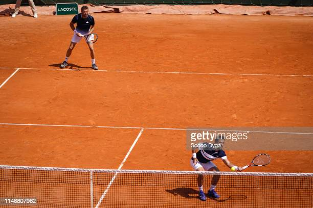 Jonathan Eysseric of France and Mathias Bourgue of France during the Day 4 of Roland Garros on May 29 2019 in Paris France