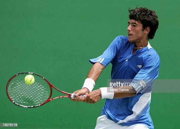 Jonathan Eysseric of France plays a backhand during his second round juniors match against Joel Lindner of Australia on day nine of the Australian...