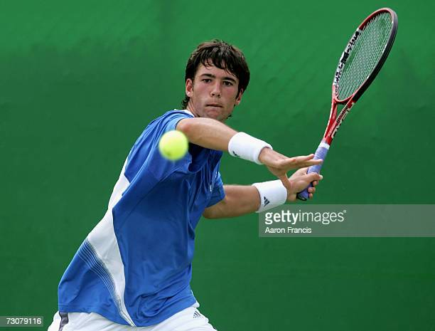 Jonathan Eysseric of France plays a forehand during his second round juniors match against Joel Lindner of Australia on day nine of the Australian...