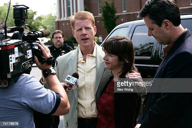 Jonathan Falwell Jeannie Falwell Savas and Jerry Falwell Jr speak to the media after a viewing of their late father the Rev Jerry Falwell lying in...