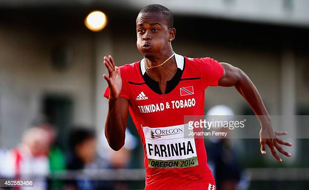 Jonathan Farinha of Trinidad and Tobago runs in his semifinal heat in the men's 100m during day two of the IAAF World Junior Championships at Hayward...