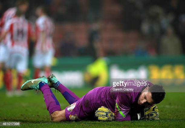 Jonathan Flatt of Wrexham reacts after conceding a second goal during the FA Cup Third Round match between Stoke City and Wrexham at Britannia...