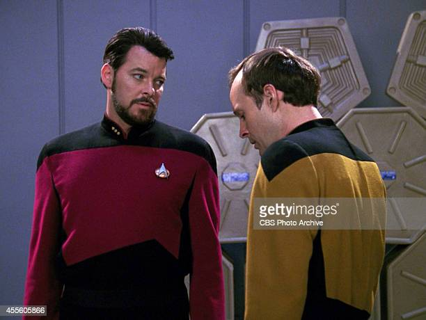 Jonathan Frakes as Commander William T Riker and Dwight Schultz as Lt Reg Barkley in the STAR TREK THE NEXT GENERATION episode Hollow Pursuits...