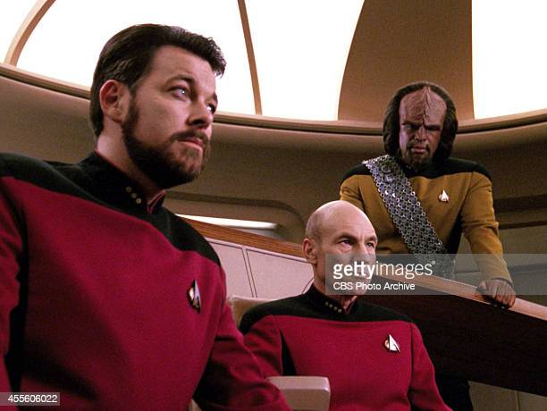 Jonathan Frakes as Commander William T Riker Patrick Stewart as Captain JeanLuc Picard and Michael Dorn as Lieutenant Worf in the STAR TREK THE NEXT...