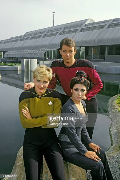 Jonathan Frakes , Denise Crosby and Marina Sirtis, stars of TV's Star Trek-The Next Generation, pose for a group photo during a 1987 North Hollywood,...