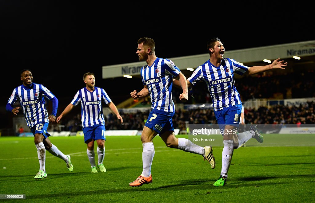 Jonathan Franks of Hartlepool (7) celebrates after scoring the opening goal during the FA Cup Second round match between Hartlepool United and Blyth Spartans at Victoria Park on December 5, 2014 in Hartlepool, England.