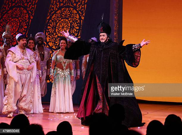 Jonathan Freeman and cast during the Broadway Opening Night Performance Curtain Call for Disney's 'Aladdin' at the New Amsterdam Theatre on March 20...