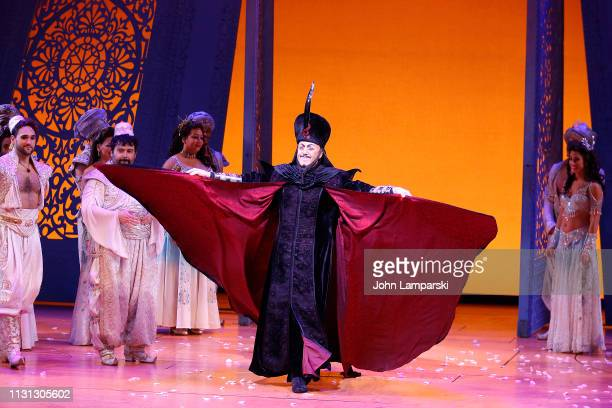 Jonathan Freeman attends Aladdin Broadway curtain call at New Amsterdam Theatre on February 21 2019 in New York City