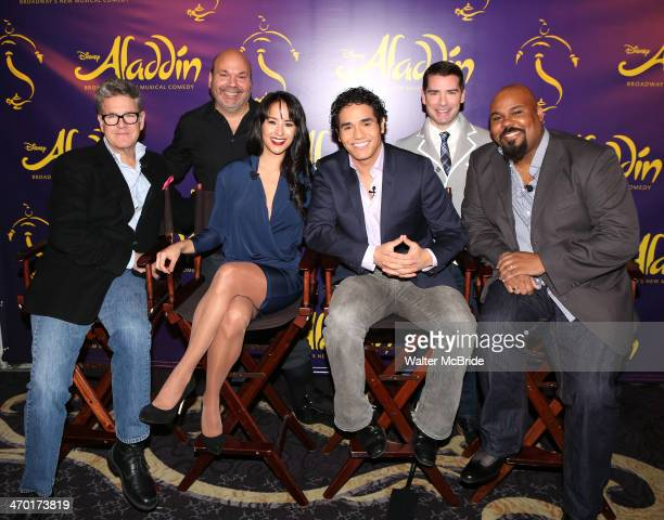 Jonathan Freeman Director Casey Nicholaw Courtney Reed Adam Jacobs Chad Beguelin and James Monroe Iglehart attend the 'Aladdin' Broadway Cast And...