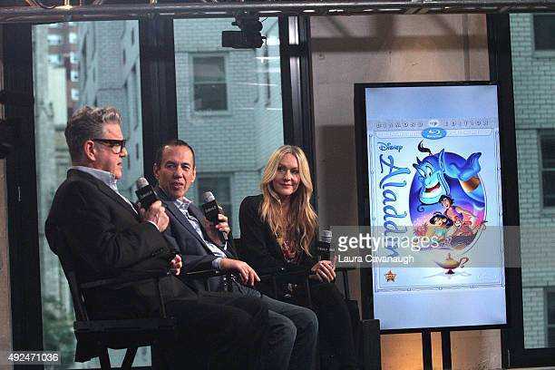 Jonathan Freeman Gilbert Gottfried and Linda Larkin attend AOL Build Presents 'Aladdin' at AOL Studios In New York on October 13 2015 in New York City