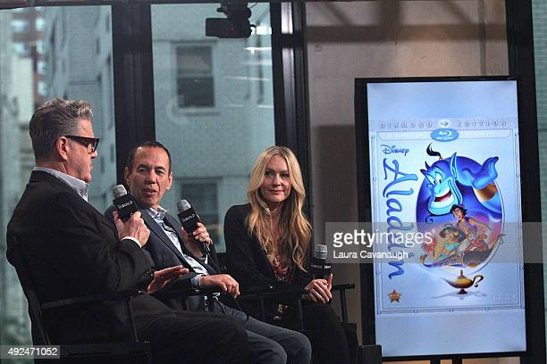Jonathan Freeman Gilbert Gottfried and Linda Larkin attend AOL Build Presents 'Aladdin' at AOL Studios In New York on October 13 2015 in New York City