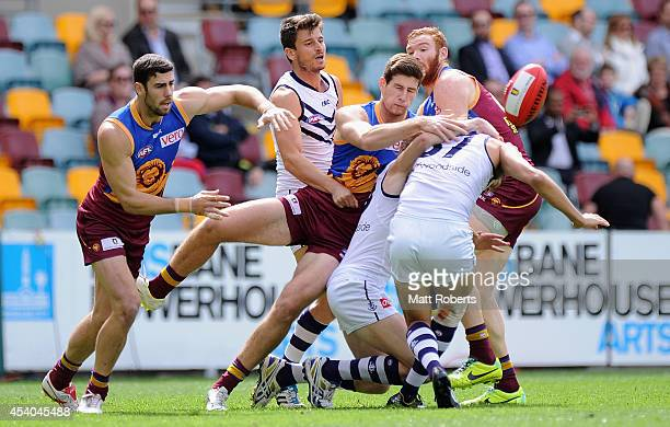Jonathan Freeman of the Lions competes for the ball during the round 22 AFL match between the Brisbane Lions and the Fremantle Dockers at The Gabba...
