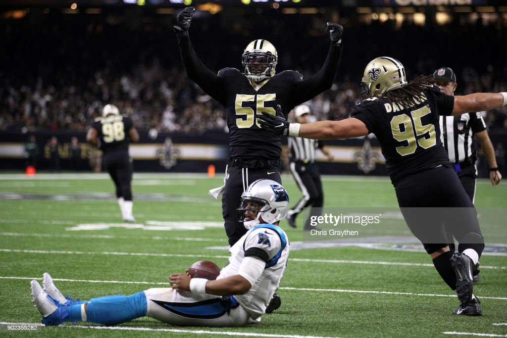 Jonathan Freeny #55 of the New Orleans Saints reacts after sacking Cam Newton #1 of the Carolina Panthers at the Mercedes-Benz Superdome on January 7, 2018 in New Orleans, Louisiana.