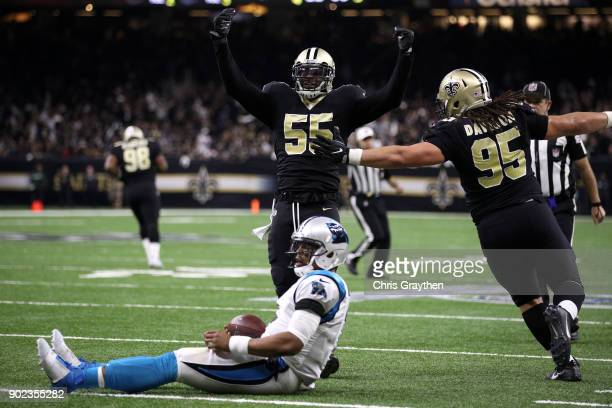 Jonathan Freeny of the New Orleans Saints reacts after sacking Cam Newton of the Carolina Panthers at the MercedesBenz Superdome on January 7 2018 in...