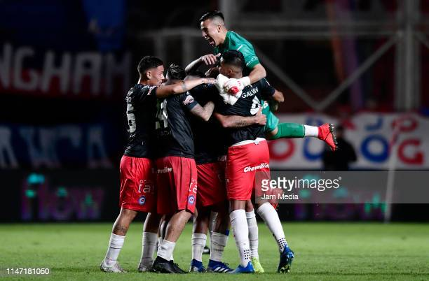 Jonathan Galván of Argentinos Juniors celebrates with teammates after a round of sixteen second leg match between San Lorenzo and Argentinos Juniors...
