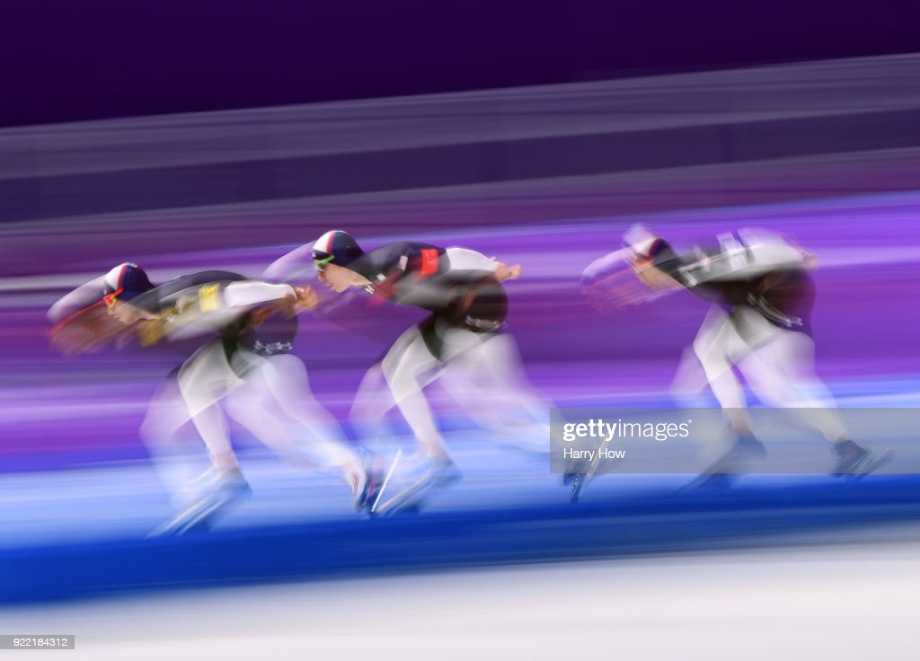 Jonathan Garcia, Brian Hansen and Emery Lehman of the United State compete during the Speed Skating Men's Team Pursuit on day 12 of the PyeongChang 2018 Winter Olympic Games at Gangneung Oval on February 21, 2018 in Gangneung, South Korea.