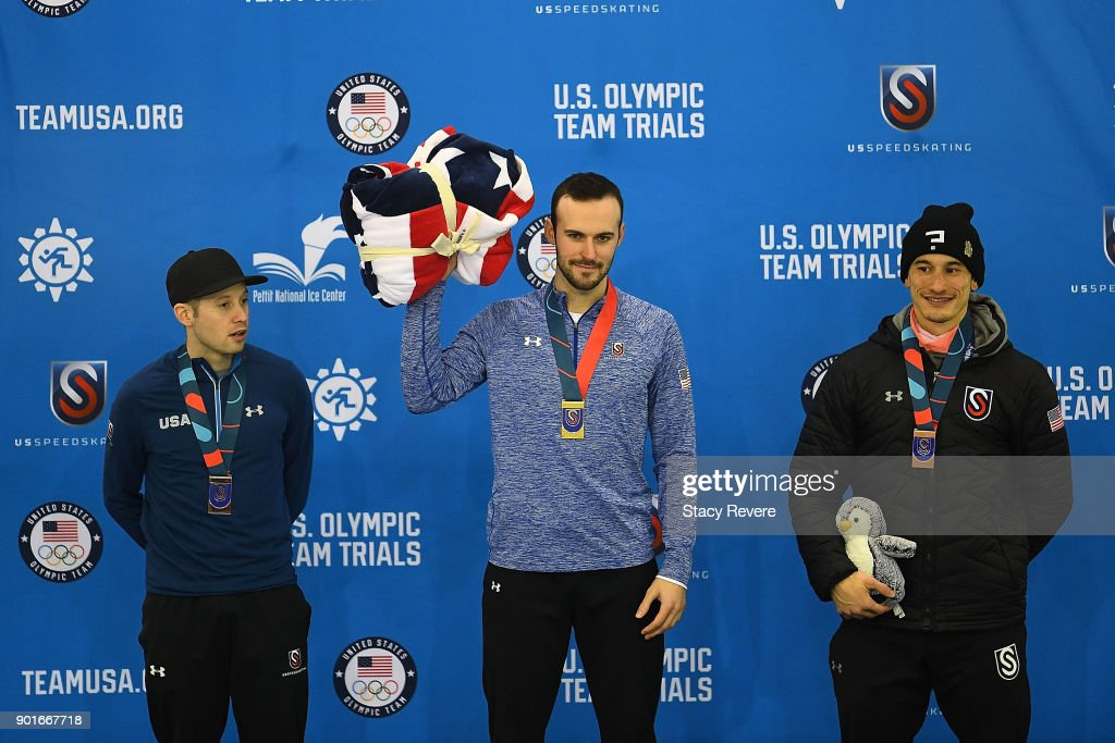 Jonathan Garcia, Mitchell Whitmore and Kemani Griffin stand on the podium following the Men's 500 meter event during the Long Track Speed Skating Olympic Trials at the Pettit National Ice Center on January 5, 2018 in Milwaukee, Wisconsin.