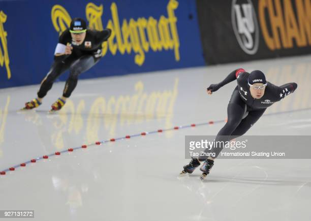 Jonathan Garcia of the United States and Tsubasa Hasegawa of Japan compete during the Men's 1000m on day two of the ISU World Sprint Speed Skating...