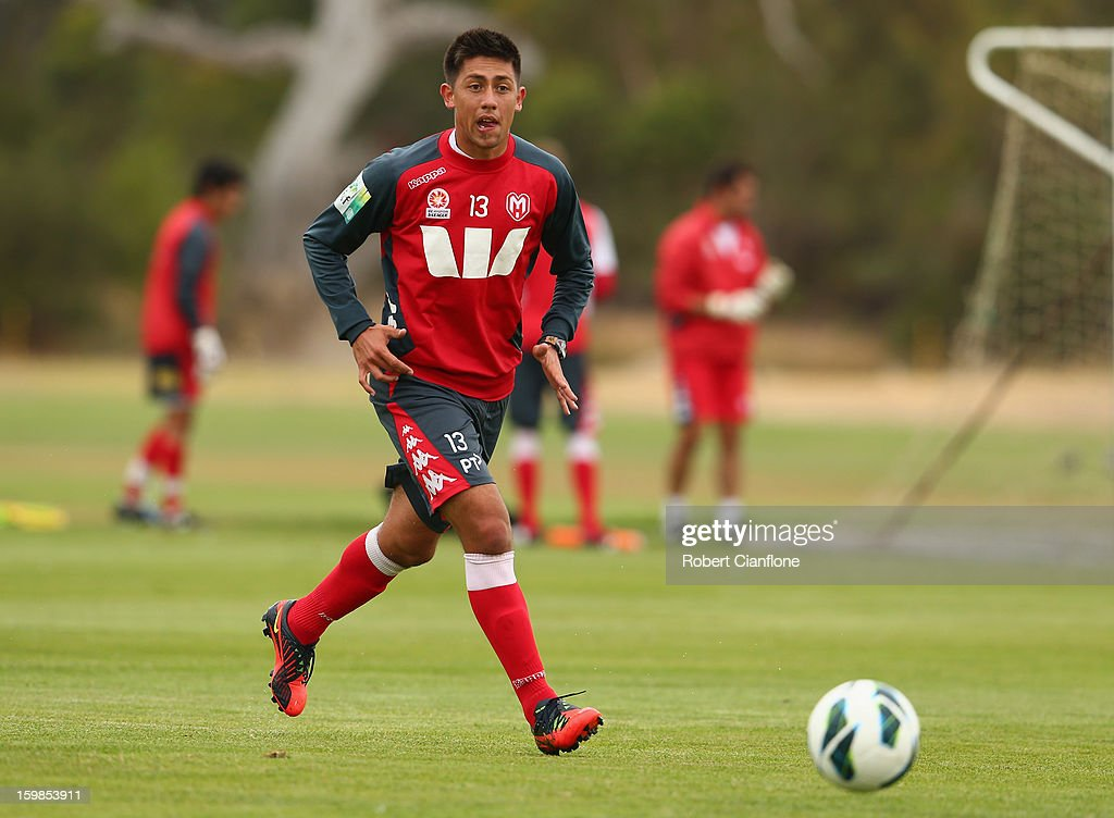 Jonathan Germano of the Heart runs with the ball during a Melbourne Heart A-League training session at La Trobe University Sports Fields on January 22, 2013 in Melbourne, Australia.