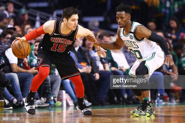 Jonathan Gibson of the Boston Celtics guards Ryan Arcidiacono of the Chicago Bulls during a game at TD Garden on April 6, 2018 in Boston,...