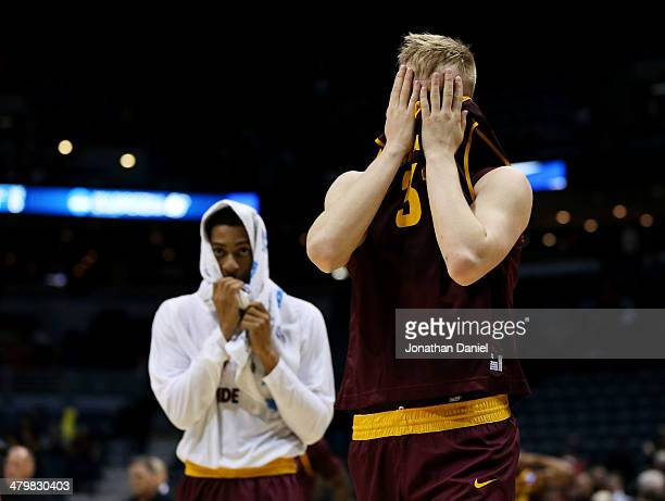 Jonathan Gilling of the Arizona State Sun Devils reacts to their 87 to 85 loss to the Texas Longhorns during the second round of the 2014 NCAA Men's...