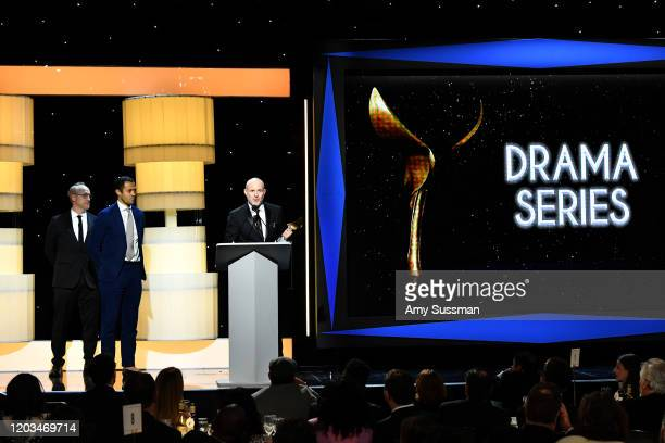 """Jonathan Glatzer accepts the """"Outstanding Drama Series"""" award for """"Succession"""" onstage during the 2020 Writers Guild Awards West Coast Ceremony at..."""