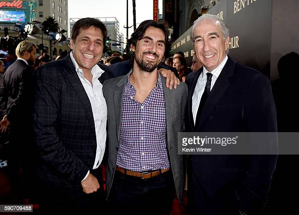 Jonathan Glickman President MGM Matt Dines VP Production MGM and Gary Barber Chairman CEO MGM arrive at the premiere of Paramount Pictures' BenHur at...