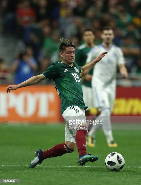 Jonathan Gonzalez of Mexico drives the ball during the friendly match between Mexico and Bosnia and Herzegovina at Alamodome Stadium on January 31...