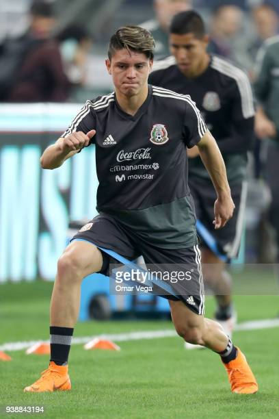 Jonathan Gonzalez of Mexico warms up during the Mexico training session ahead of the FIFA friendly match against Croatia at ATT Stadium on March 26...