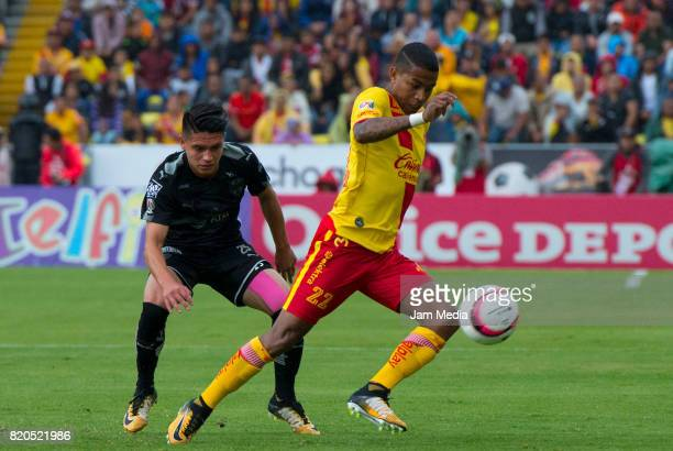 Jonathan Gonzalez of Monterrey and Andy Polo of Morelia fight for the ball during the 1st round match between Morelia and Monterrey as part of the...