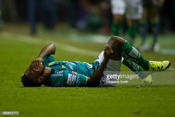 Jonathan González of León lies injured during the final match between Leon and Chivas as part of the Copa MX Apertura 2015 at Leon Stadium on...