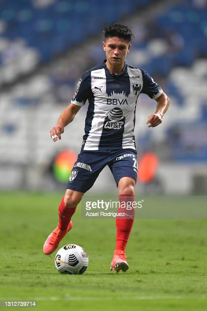 Jonathan González of Monterrey drives the ball during a second leg match between Monterrey and Atletico Pantoja as part of Round of Sixteen of...