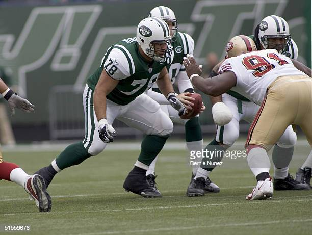 Jonathan Goodwin of the New York Jets blocking in the game against the San Francisco 49ers on October 17 2004 at Giants Stadium in East Rutherford...