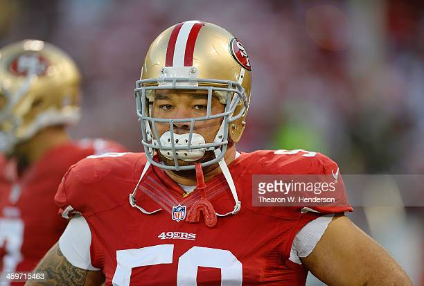 Jonathan Goodwin of the San Francisco 49ers looks on during pregame warm ups prior to playing the Atlanta Falcons at Candlestick Park on December 23...
