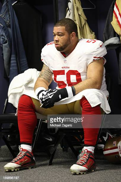 Jonathan Goodwin of the San Francisco 49ers sits in the locker room prior to the game against Atlanta Falcons in the NFC Championship game at the...
