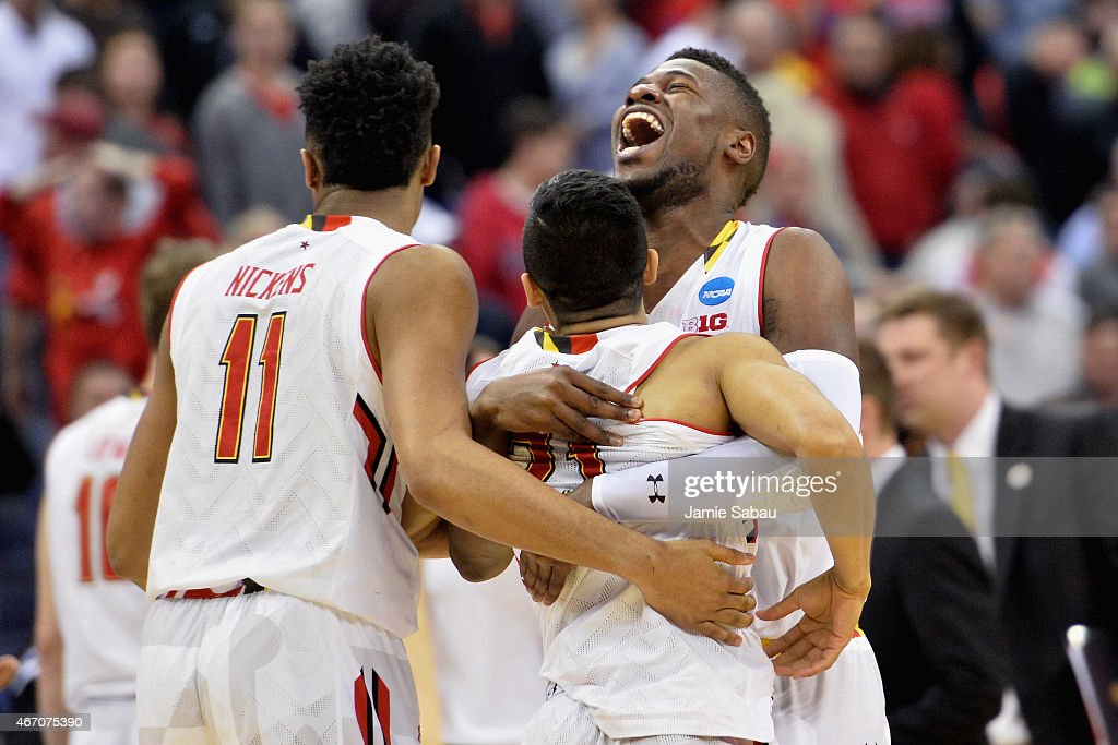 Jonathan Graham #25 (R) and Varun Ram #21 of the Maryland Terrapins react after defeating the Valparaiso Crusaders during the second round of the Men's NCAA Basketball Tournament at Nationwide Arena on March 20, 2015 in Columbus, Ohio.