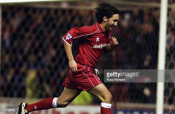 Jonathan Greening of Middlesbrough celebrates after scoring during the FA Barclaycard Premiership match between Middlesbrough and Aston Villa held on...