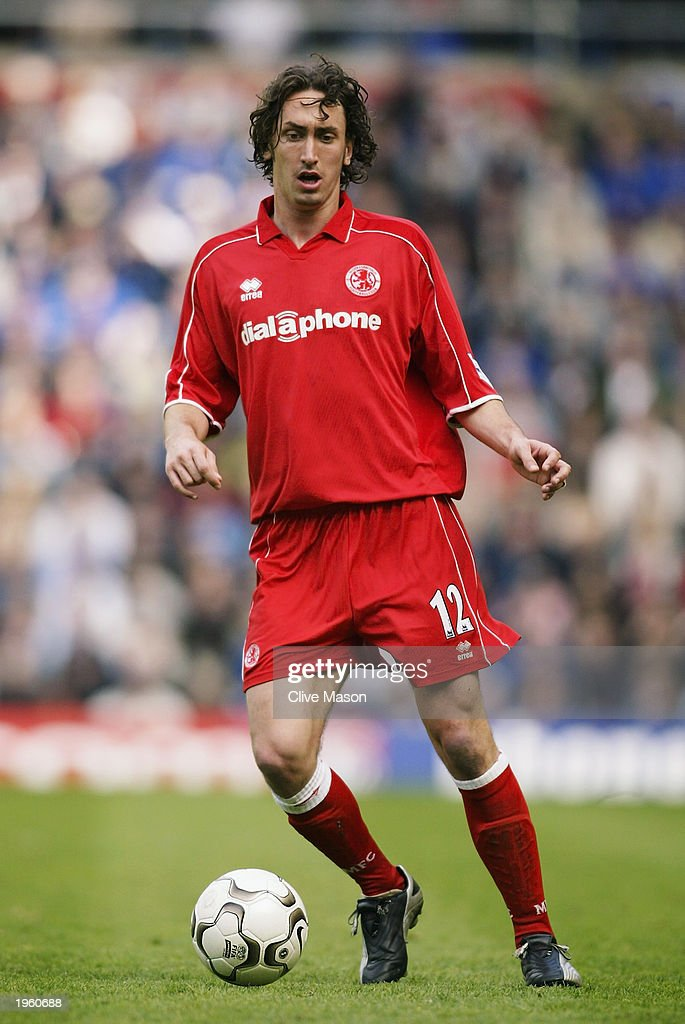 Jonathan Greening of Middlesbrough runs with the ball during the FA Barclaycard Premiership match between Birmingham City and Middlesbrough held on April 26, 2003 at St Andrews, in Birmingham, England. Birmingham City won the match 3-0.