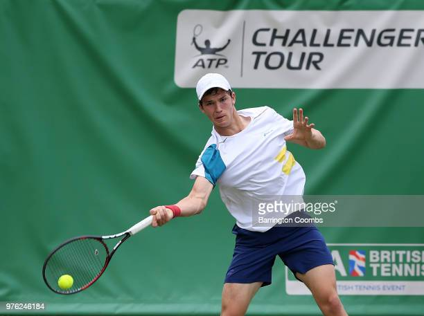 Jonathan Grey of Great Britain in action during Day One of the Fuzion 100 Ikley Trophy at Ilkley Lawn Tennis & Squash Club on June 16, 2018 in...