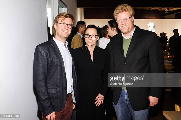 Jonathan Griffin Sharon Lockhart and Ed Schad attend Takashi Murakami Private Preview And Dinner At Blum Poe on April 11 2013 in Los Angeles...
