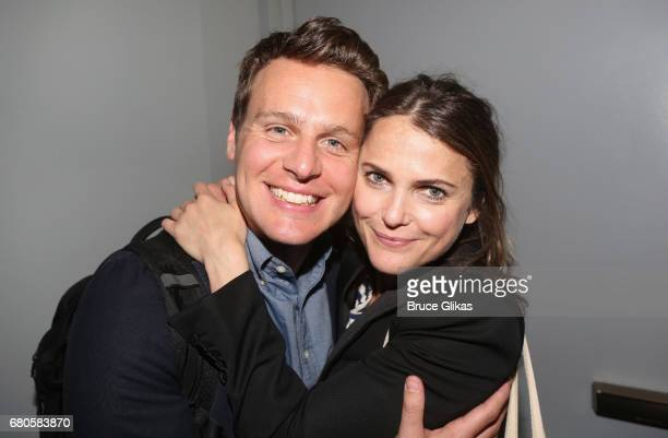 Jonathan Groff and Keri Russell pose at An American Daughter Benefit Reading at The Tony Kiser Second Stage Theatre on May 8 2017 in New York City